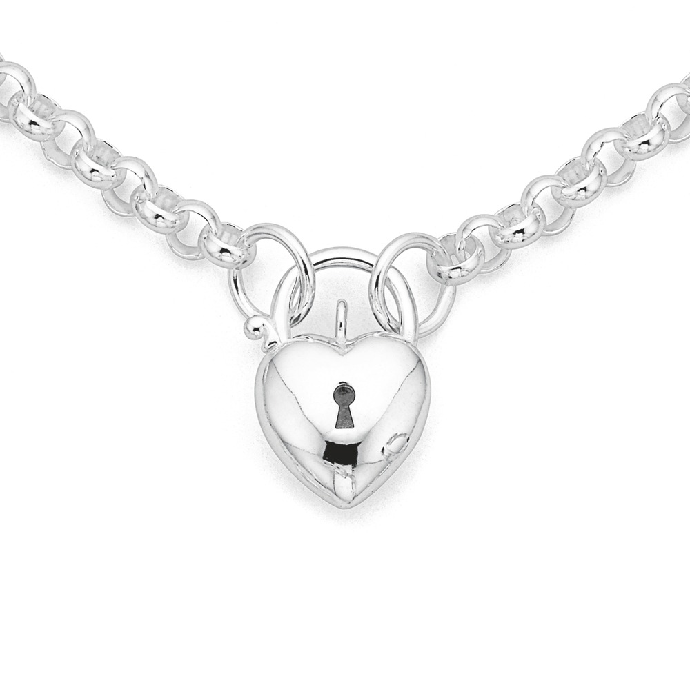 Sterling Silver 45cm Belcher Chain with Heart Padlock
