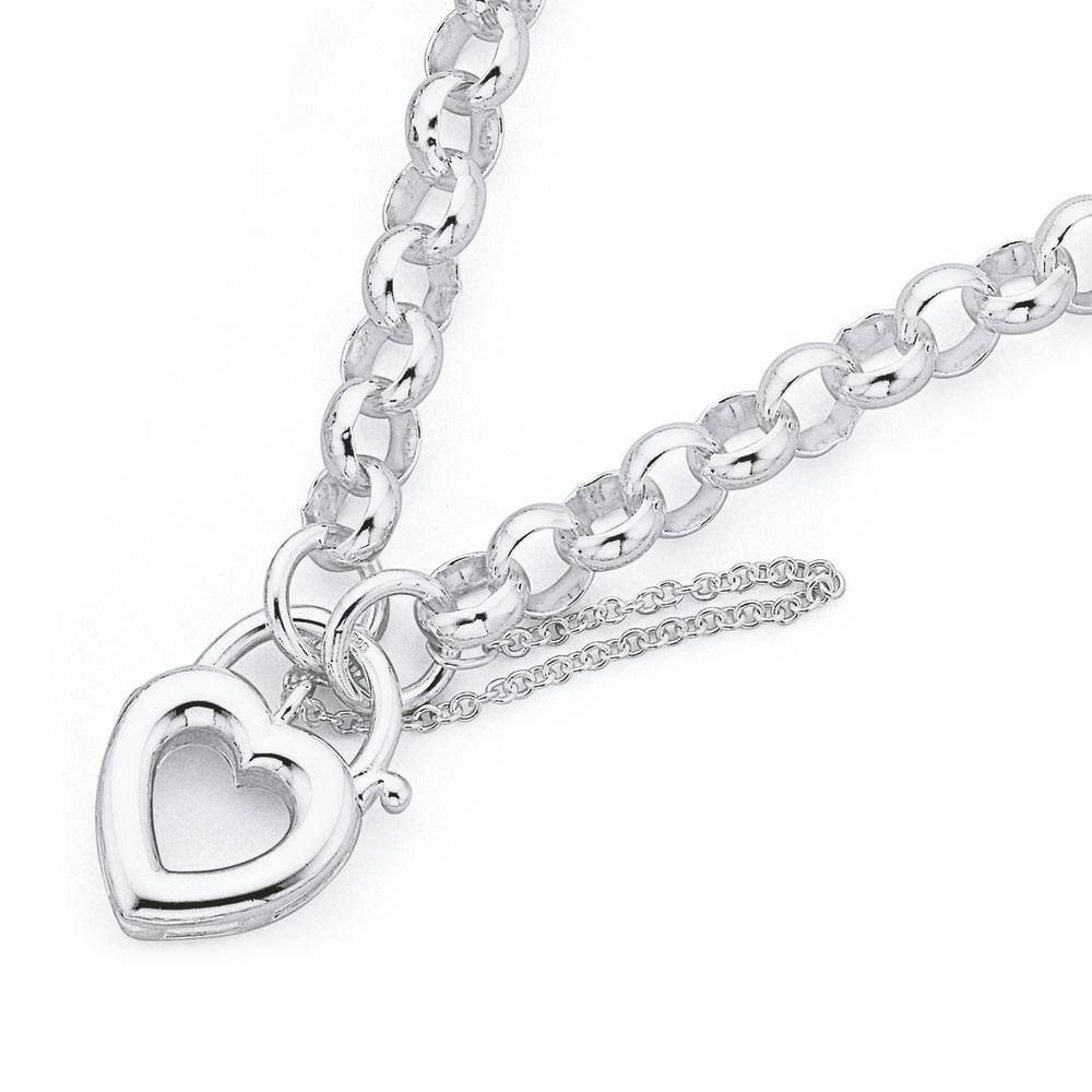Sterling Silver 19cm Belcher Bracelet with Heart Padlock