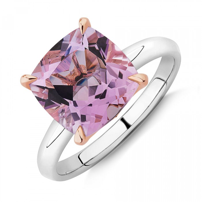 NEW Rose Amethyst Ring in Sterling Silver & 10ct Rose Gold