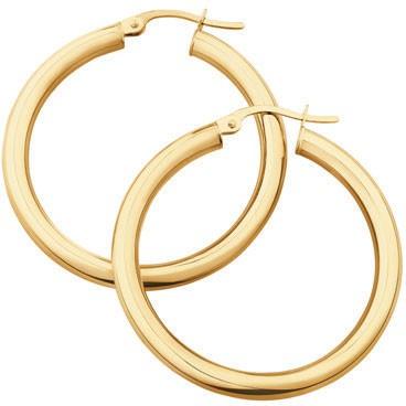 NEW 25mm Hoop Earrings in 10ct Yellow Gold
