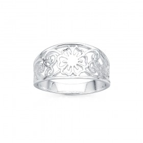 Sterling-Silver-Filigree-Flower-Ring-Size-S on sale