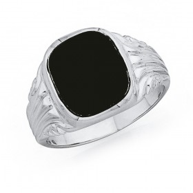 Gents-Onyx-Signet-Ring-in-Sterling-Silver on sale
