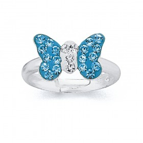 Childs-Blue-Crystal-Butterfly-Ring-in-Sterling-Silver on sale