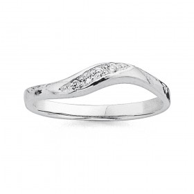Sterling-Silver-Cubic-Zirconia-Wave-Ring on sale