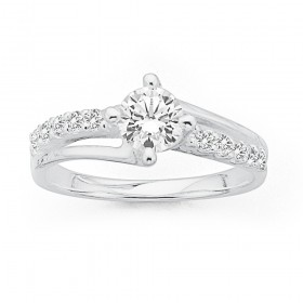 Cubic-Zirconia-Ring-in-Sterling-Silver-Size-O on sale