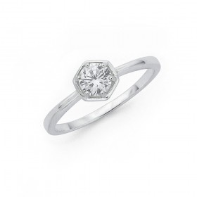 Cubic-Zirconia-Hexagon-Ring-in-Sterling-Silver on sale