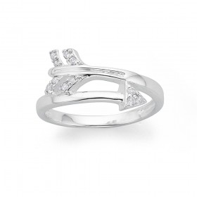 Sterling-Silver-Cubic-Zirconia-Arrow-Ring on sale