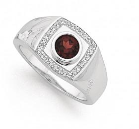 Sterling-Silver-Gents-Cubic-Zirconia-Garnet-Signet-Ring-Size-U on sale