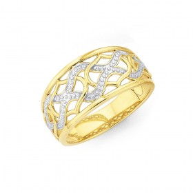 9ct-Two-Tone-Diamond-Cut-Wave-Pattern-Ring on sale