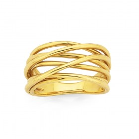 9ct-7-Bands-Crossover-Ring on sale