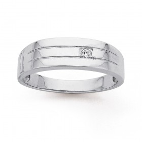 Sterling-Silver-Gents-Cubic-Zirconia-Ring-Size-V on sale