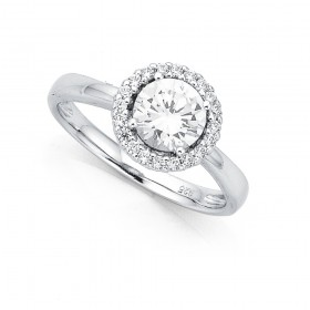 Sterling-Silver-Cubic-Zirconia-Halo-Ring on sale