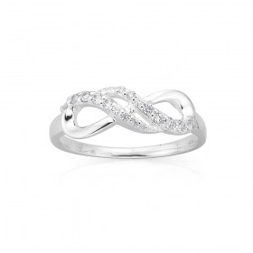 Sterling-Silver-Cubic-Zirconia-Infinity-Ring on sale