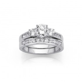 Sterling-Silver-Cubic-Zirconia-Duo-Set on sale
