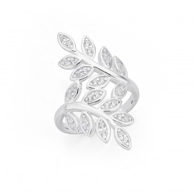 Sterling-Silver-Cubic-Zirconia-Leaf-Ring on sale