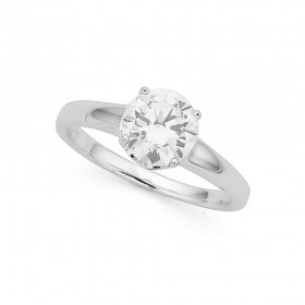 Sterling-Silver-Cubic-Zirconia-Solitaire-Ring-Size-R on sale