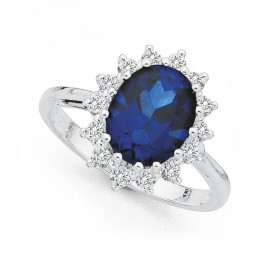 Sterling-Silver-Cubic-Zirconia-Cluster-Ring on sale