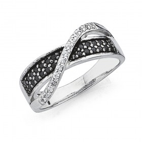 Sterling-Silver-Black-White-Cubic-Zirconia-Twist-Ring on sale