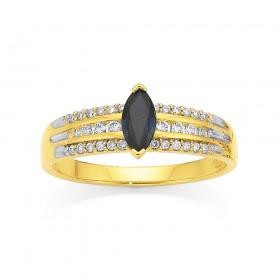 9ct-Sapphire-Diamond-Ring on sale