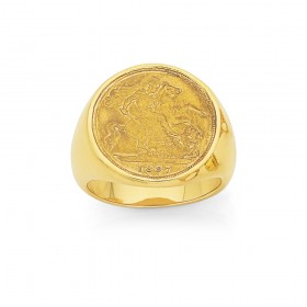 9ct-Gents-Half-Sovereign-Ring on sale