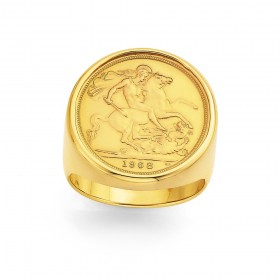 9ct-Gents-Full-Sovereign-Ring on sale