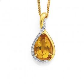 9ct-Citrine-Diamond-Pendant on sale