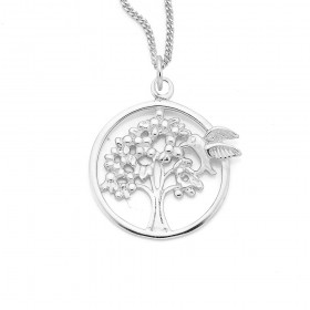 Sterling-Silver-Tree-With-Hummingbird-Round-Pendant on sale