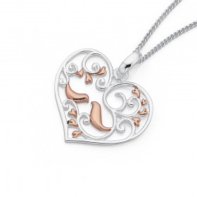 Sterling-Silver-Rose-Gold-Plated-Heart-Birds-Pendant on sale