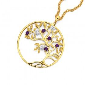 9ct-Amethyst-Diamond-Tree-Of-Life-Pendant on sale