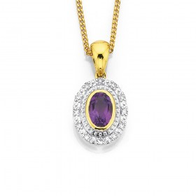 9ct-Amethyst-Diamond-Pendant on sale