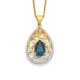 9ct-Blue-Topaz-Diamond-Pendant on sale