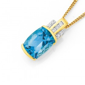 9ct-Blue-London-Topaz-Diamond-Pendant on sale