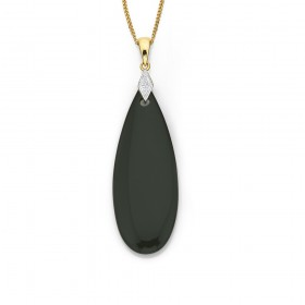 9ct-Diamond-Onyx-Pendant on sale