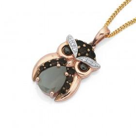 9ct-Moon-Stone-Diamond-Owl-Pendant on sale