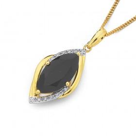 9ct-Onyx-Diamond-Pendant on sale