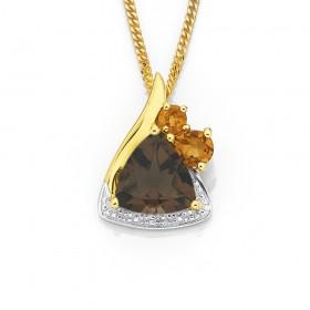 9ct-Smoky-Quartz-Citrine-Diamond-Pendant on sale