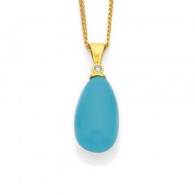 9ct-Turquoise-Diamond-Pendant on sale