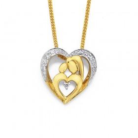 9ct-Mother-Child-Diamond-Set-Pendant on sale