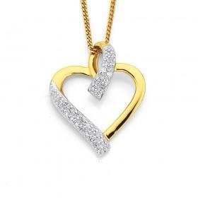 9ct-Diamond-Set-Heart-Pendant on sale