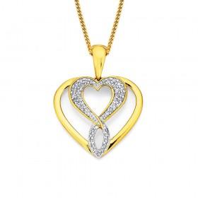 9ct-Diamond-Set-Twist-Heart-Pendant on sale