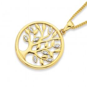 9ct-Diamond-Set-Leaves-Pendant on sale