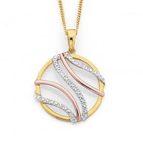 9ct-Tri-Tone-Diamond-Circle-Pendant on sale