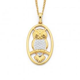 9ct-Owl-Pendant-with-Diamond on sale