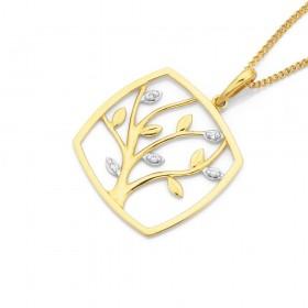 9ct-Diamond-Set-Tree-of-Life-Pendant on sale