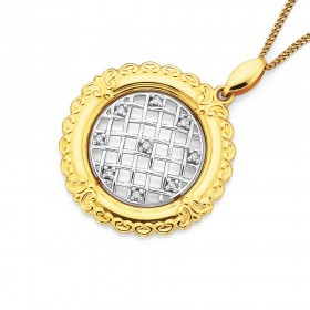 9ct-Two-Tone-Diamond-Set-Latice-Circle-Pendant on sale