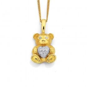 9ct-Two-Tone-Teddy-Bear-with-Diamond-Pendant on sale