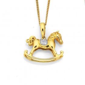 9ct-Diamond-Set-Rocking-Horse-Pendant on sale