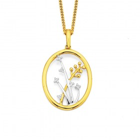 9ct-Two-Tone-Flower-Pendant on sale