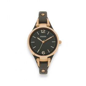 Fossil-Ladies-Rose-Gold-Tone-Leather-Strap-Watch on sale