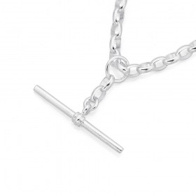 Sterling-Silver-45cm-Oval-Belcher-Chain-with-Fob on sale